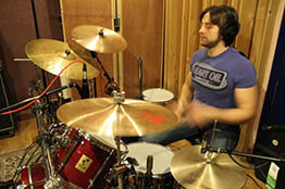 Andrew Quinn during a drum session at JAM Studios